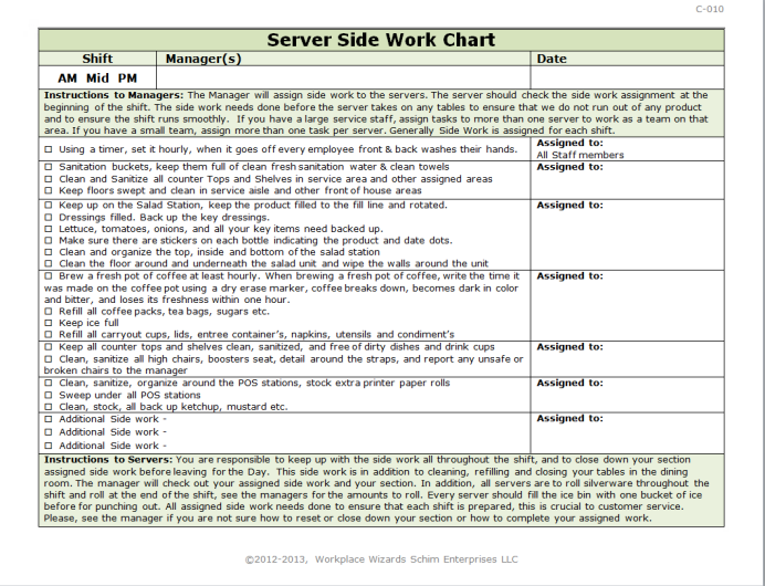 Server side work chart workplace wizards
