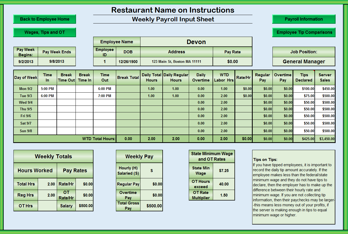 Restaurant spreadsheets