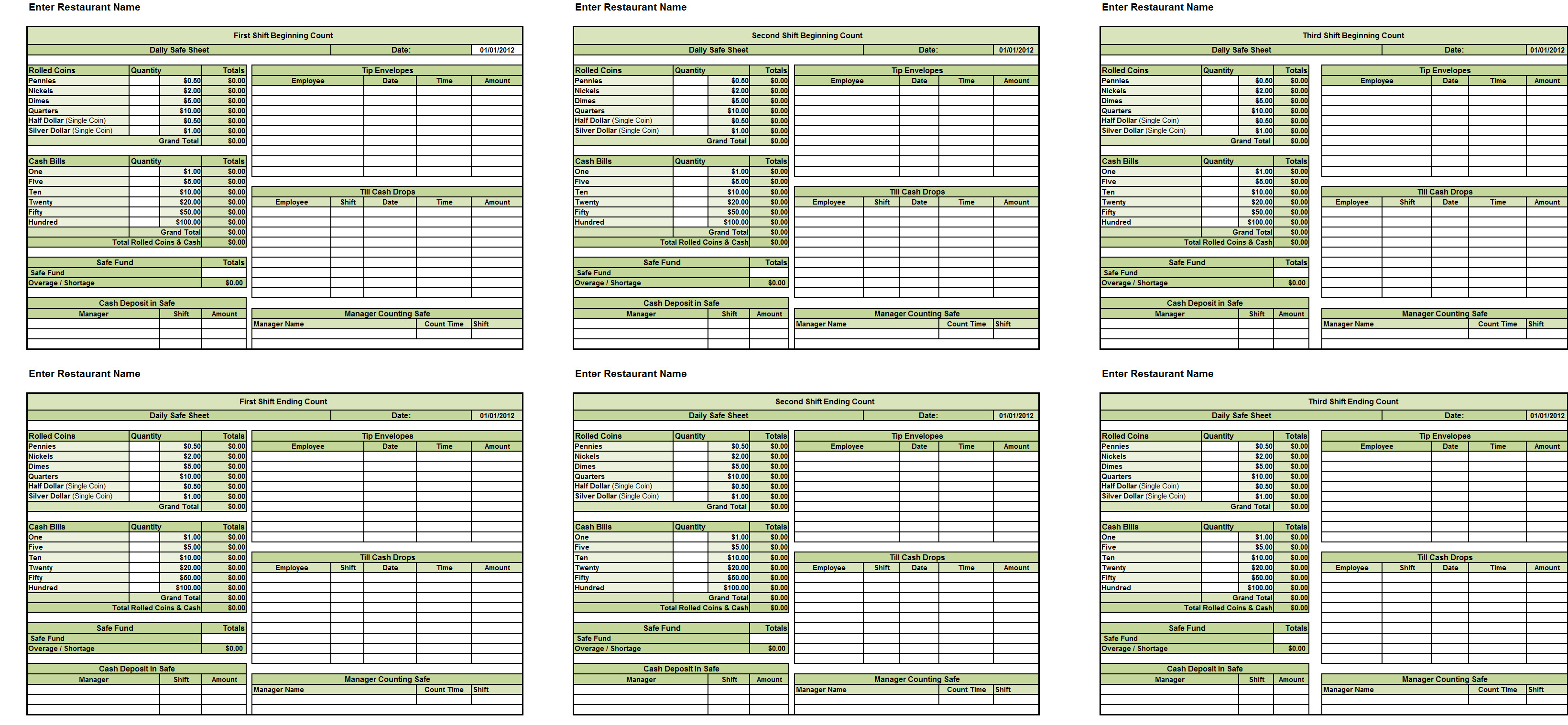 Safe Count Sheets