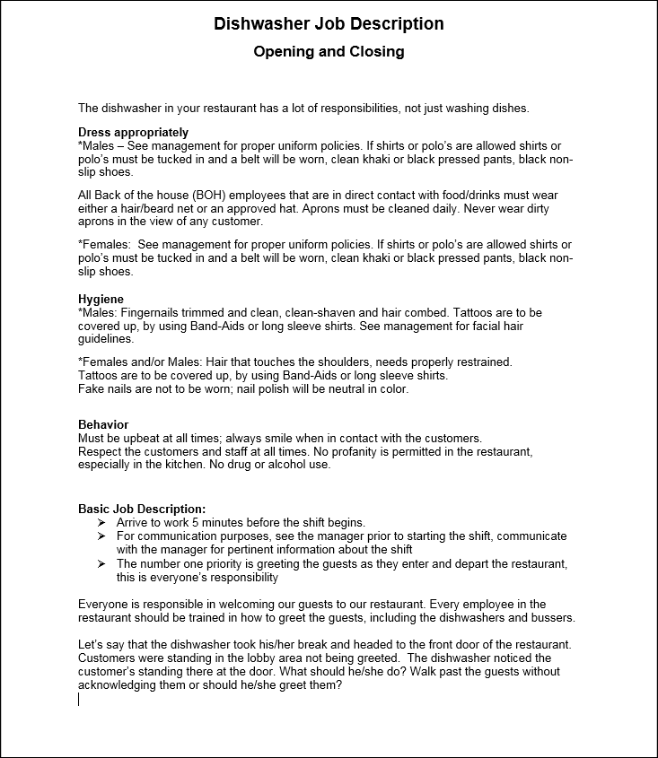 Dishwasher Job Description Workplace Wizards Restaurant Consulting – Dishwasher Job Description