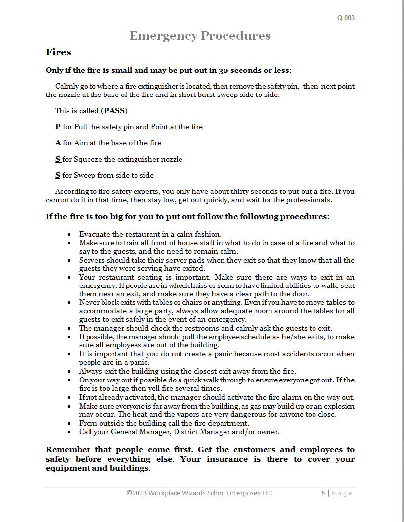 Restaurant emergency procedures chart