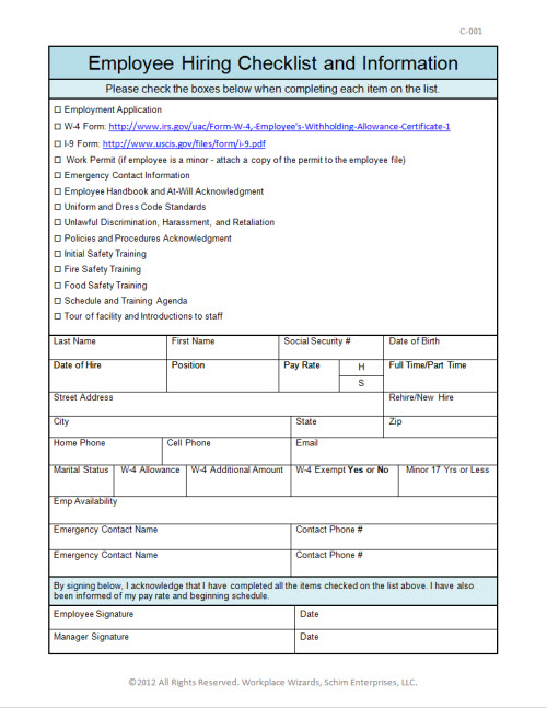 Employee New Hire Checklist Workplace Wizards Restaurant Consulting – Employee Uniform Form