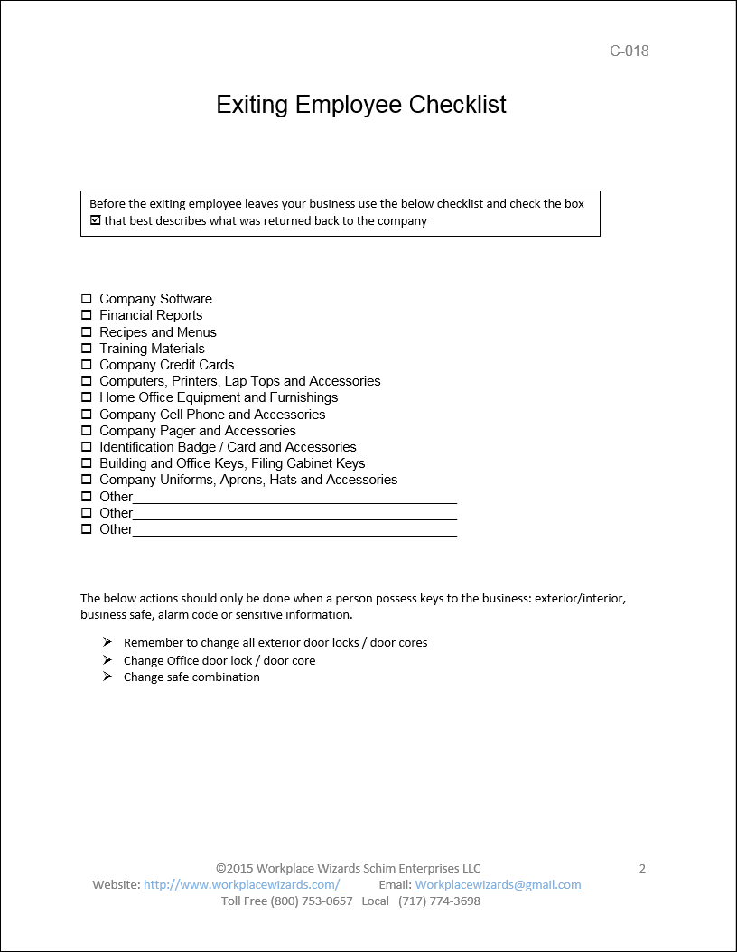 exiting employee checklist restaurant consulting exiting employee checklist
