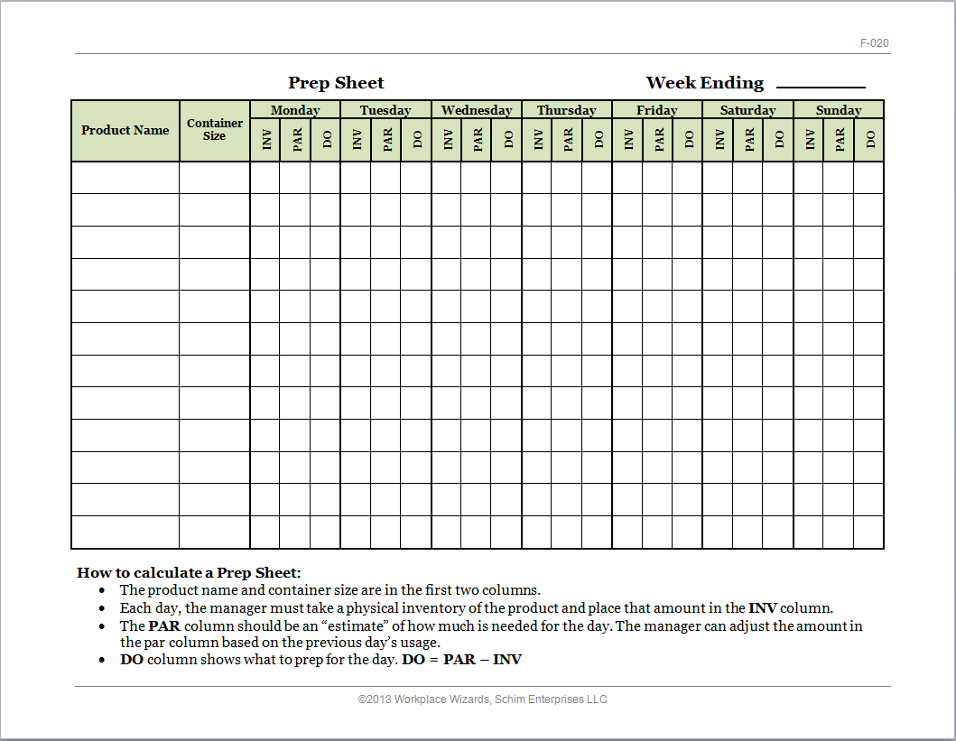 Restaurant Kitchen Prep Sheets new cumberland, pennsylvania - restaurant consultants, restaurant