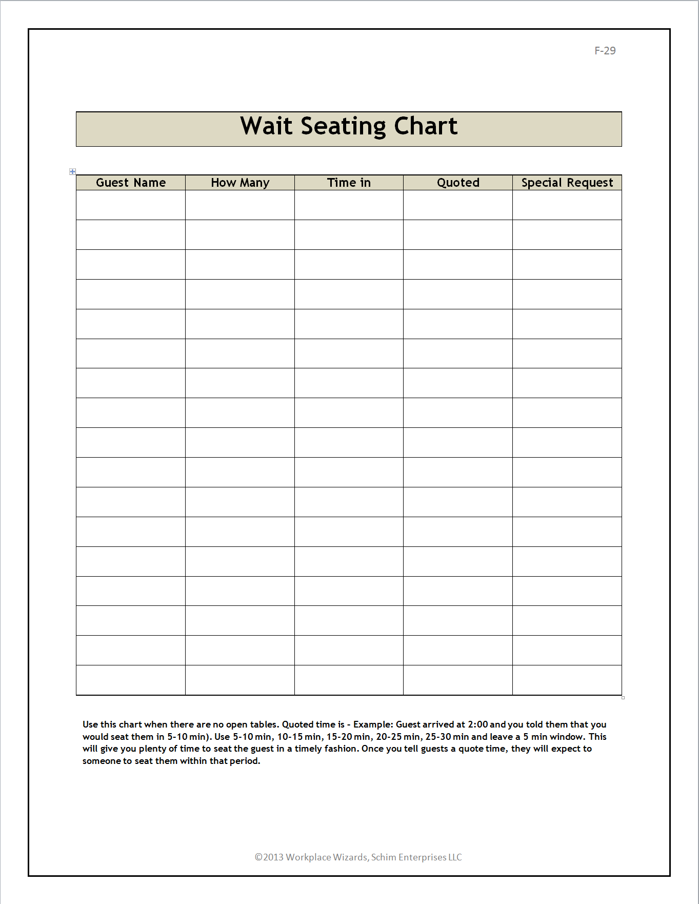 Restaurant wait seating form