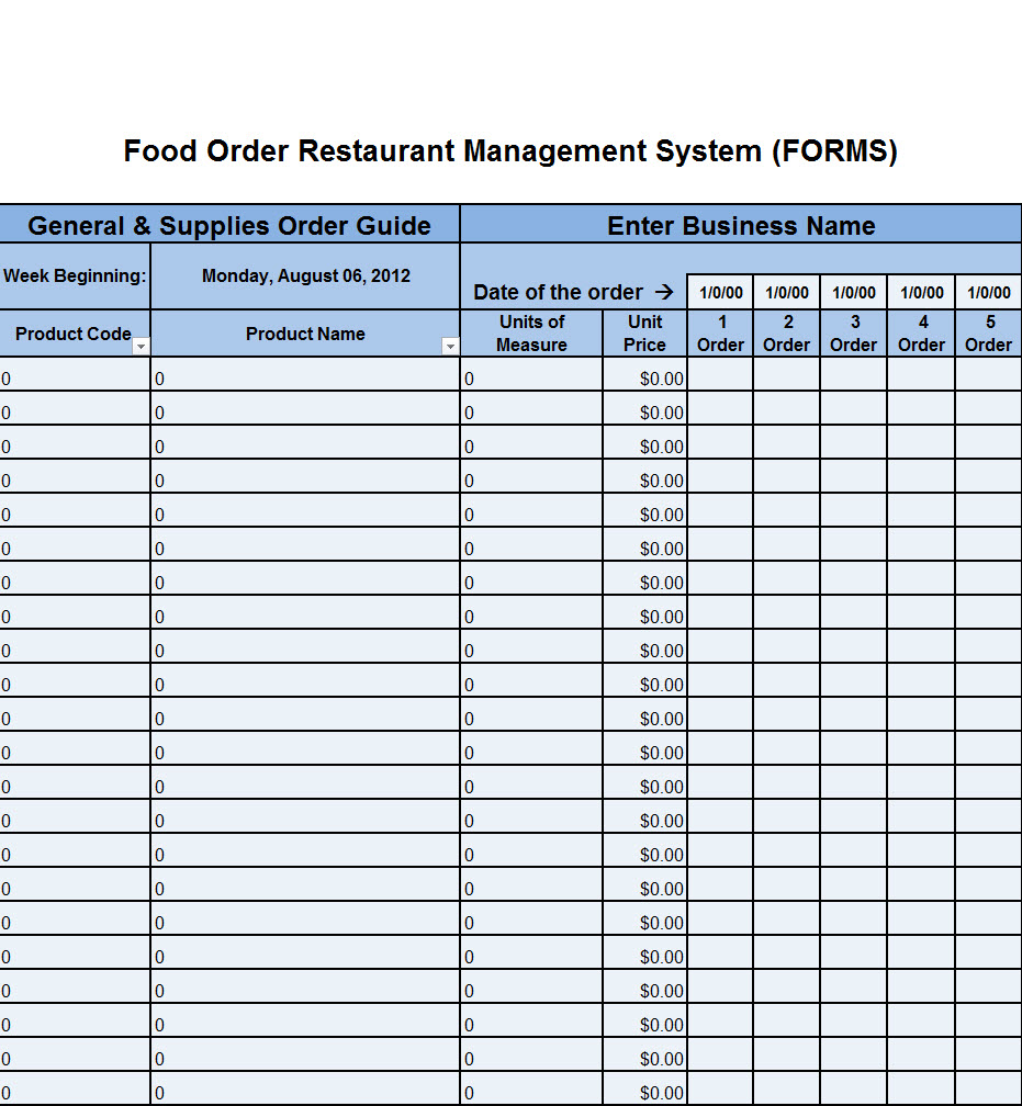 restaurant par sheet excel