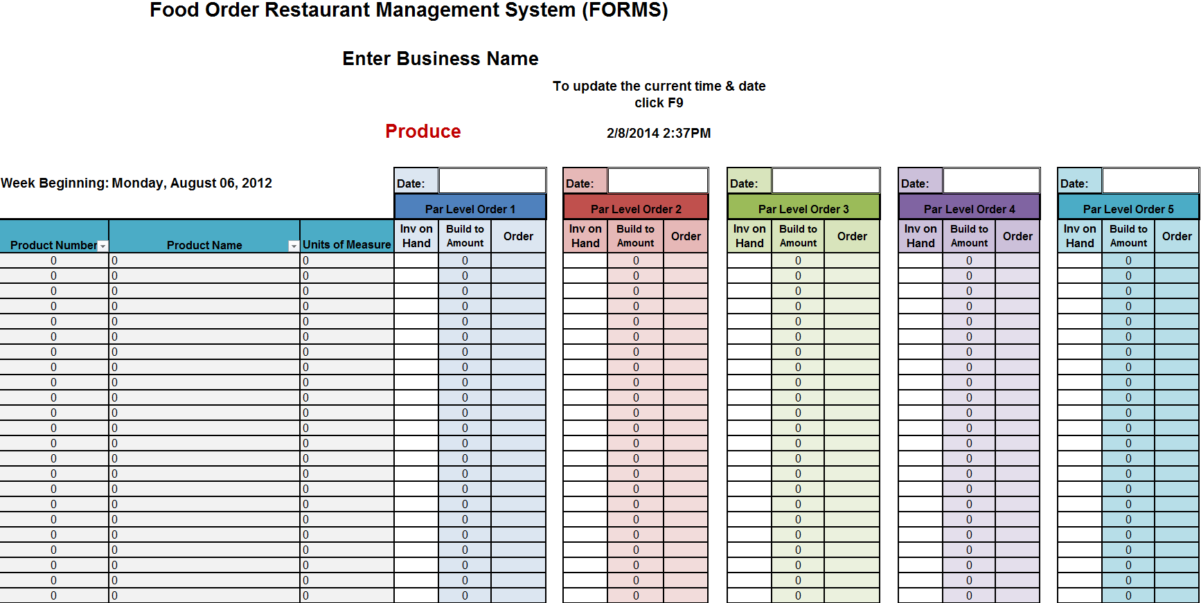 restaurant inventory spreadsheets