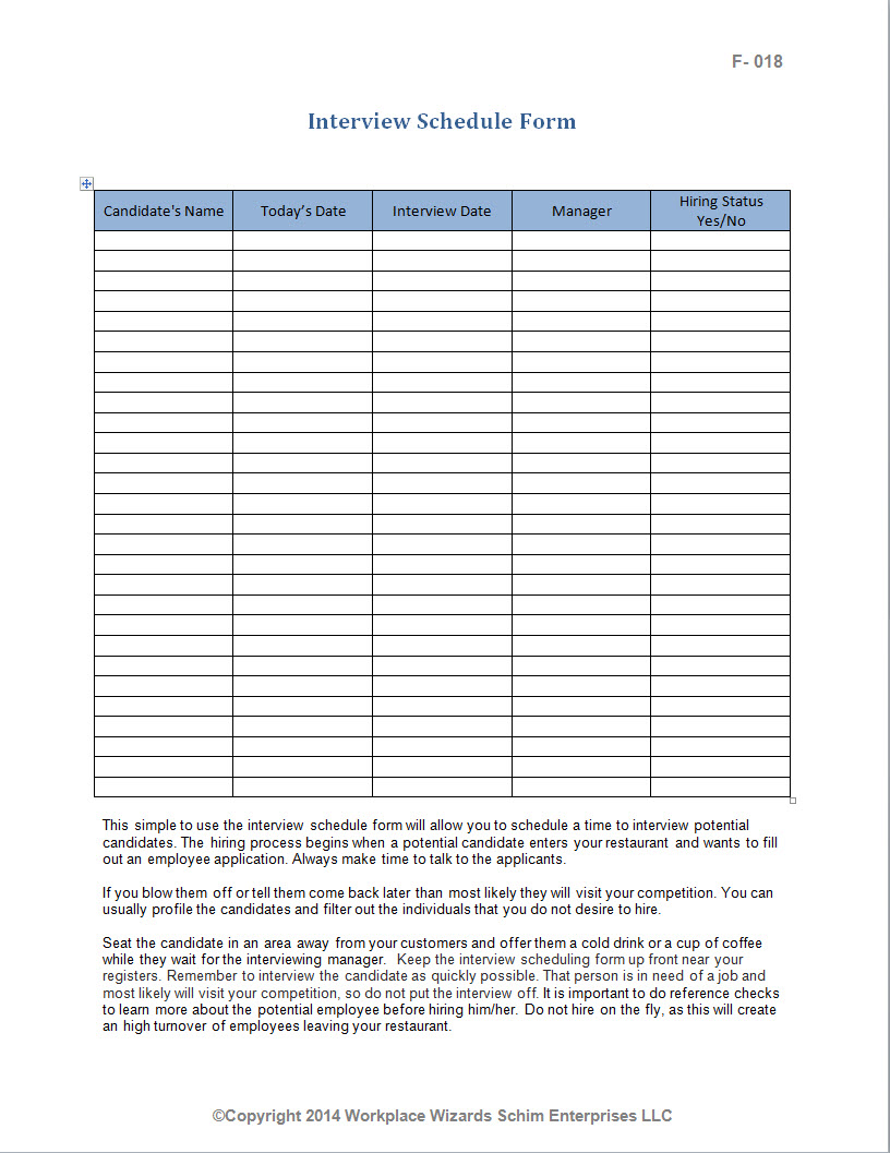restaurant wait list template