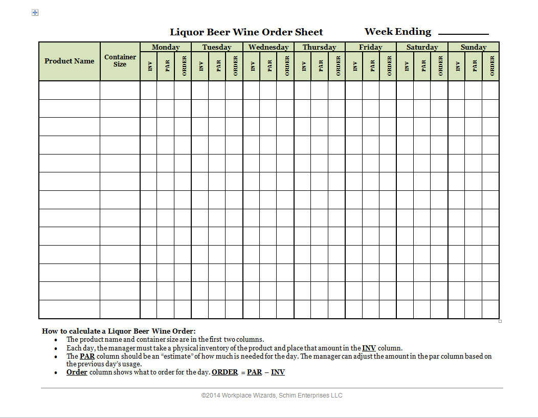 liquor beer wine order form