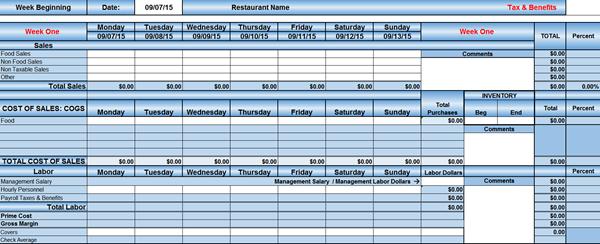 restaurant prime cost spreadsheet