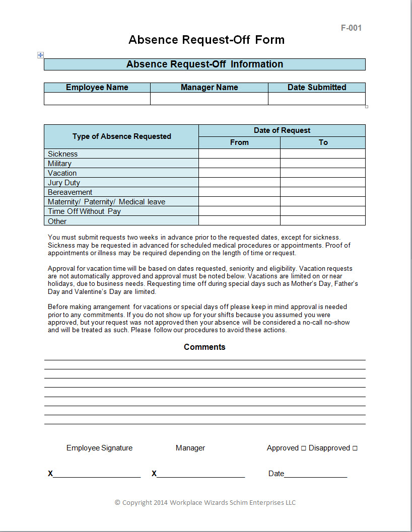 Employee Request Off Form Workplace Wizards Restaurant Consulting – Request off Form