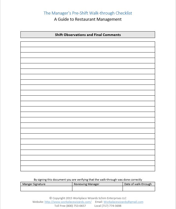 Restaurant Manager Walk-Through Checklist - Restaurant Consulting