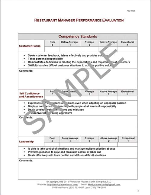 restaurant manager performance review template juve