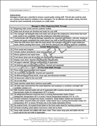 Closing Manager Checklist