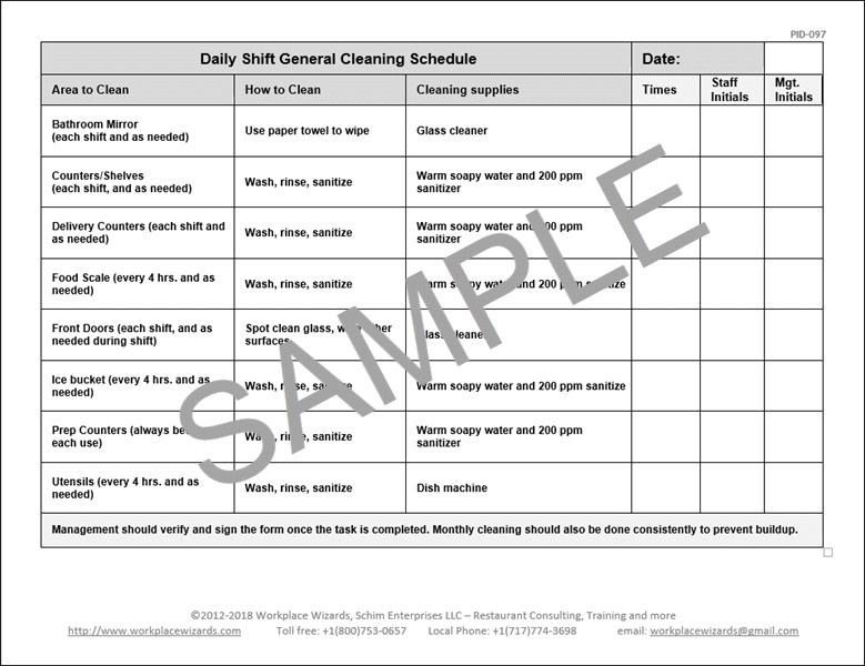 Restaurant Cleaning Schedule Restaurant Consulting