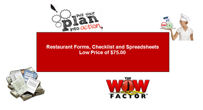 restaurant forms, checklists and spreadsheets