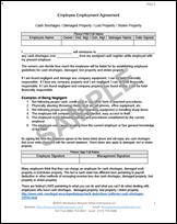 employee cash shortage damaged property agreement form