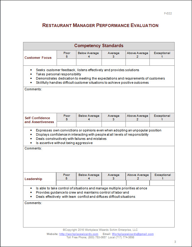 Restaurant Manager Performance Evaluation Form – Performance Evaluation Forms