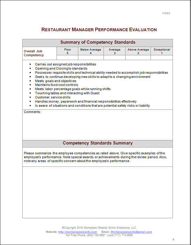 Restaurant Manager Performance Evaluation Form