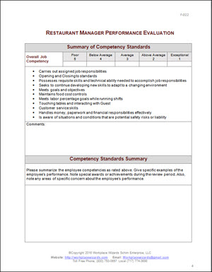 restaurant manager performance evaluation