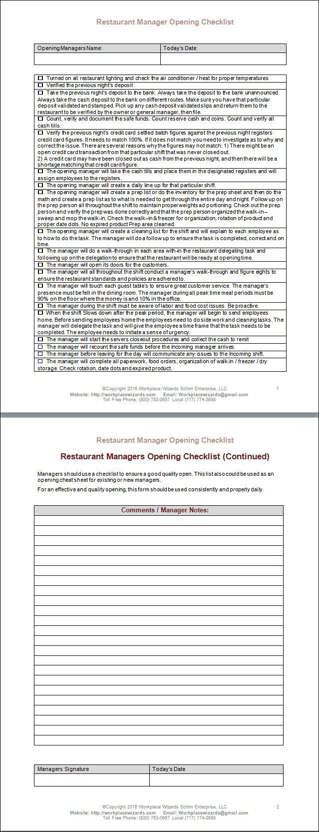 restaurant manager opening checklist