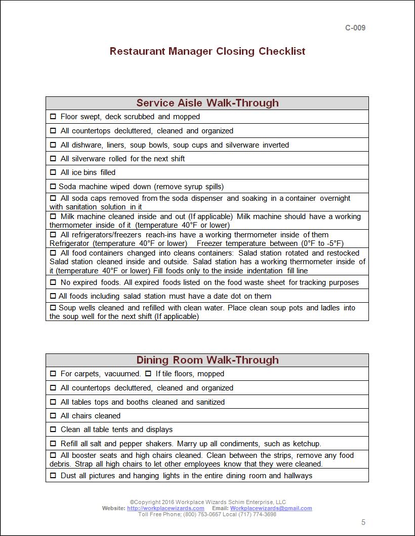restaurant manager closing checklist. Closing Manager Checklist   Workplace Wizards Restaurant Consulting