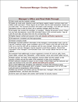 Closing Manager Checklist Workplace Wizards Restaurant