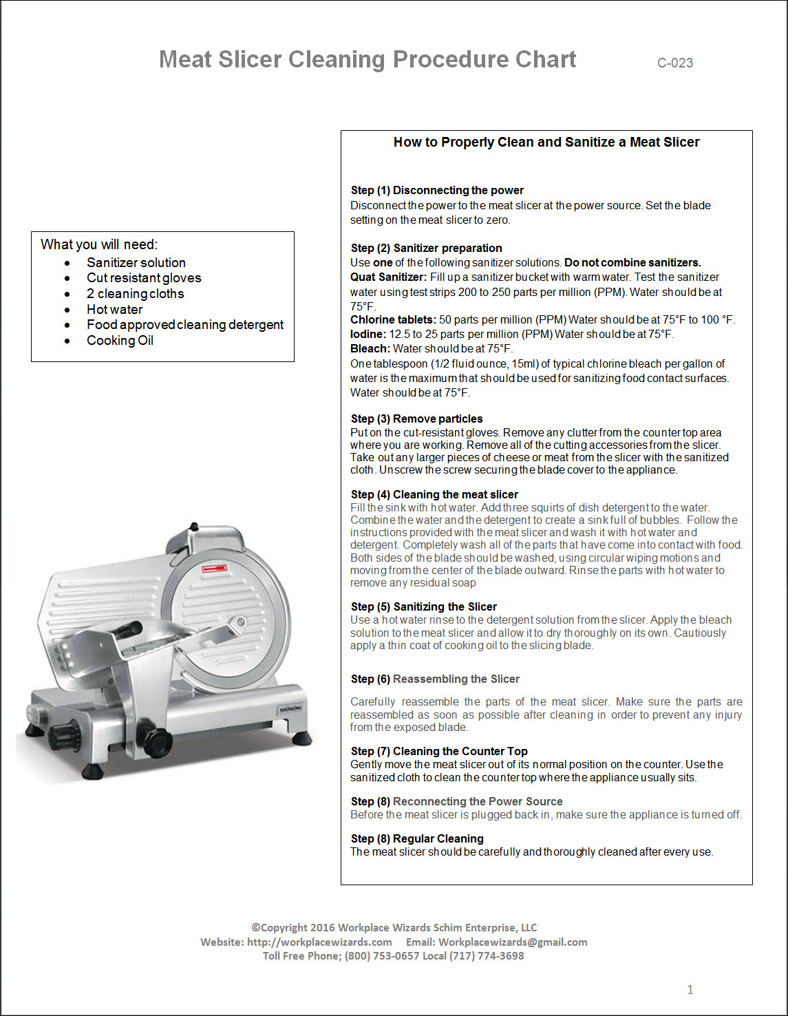 Meat Slicer Cleaning Procedure Chart