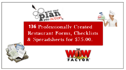 restaurant forms, checklists and spreadsheets bundled (136)