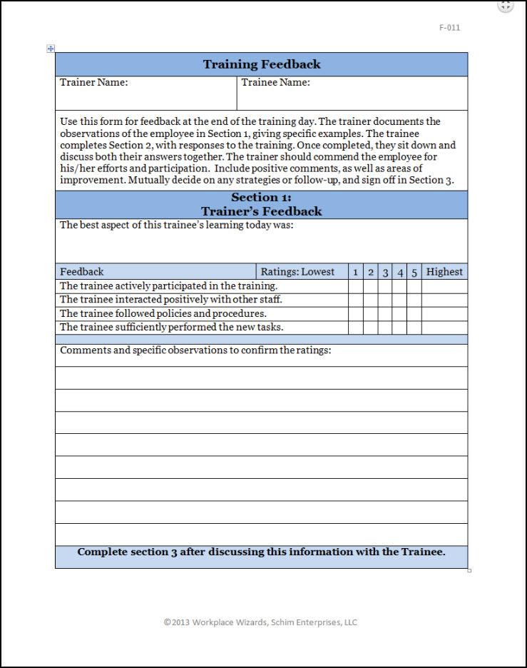 Restaurant Training Feedback Form