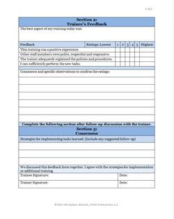 training feedback form