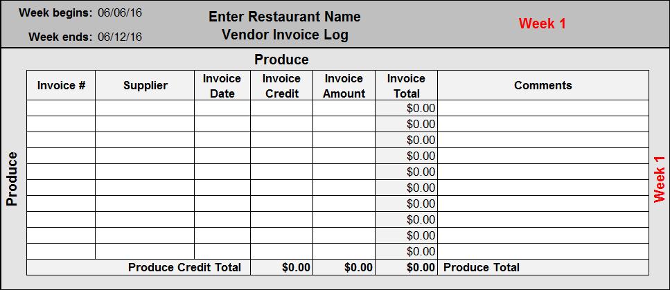 restaurant spreadsheet