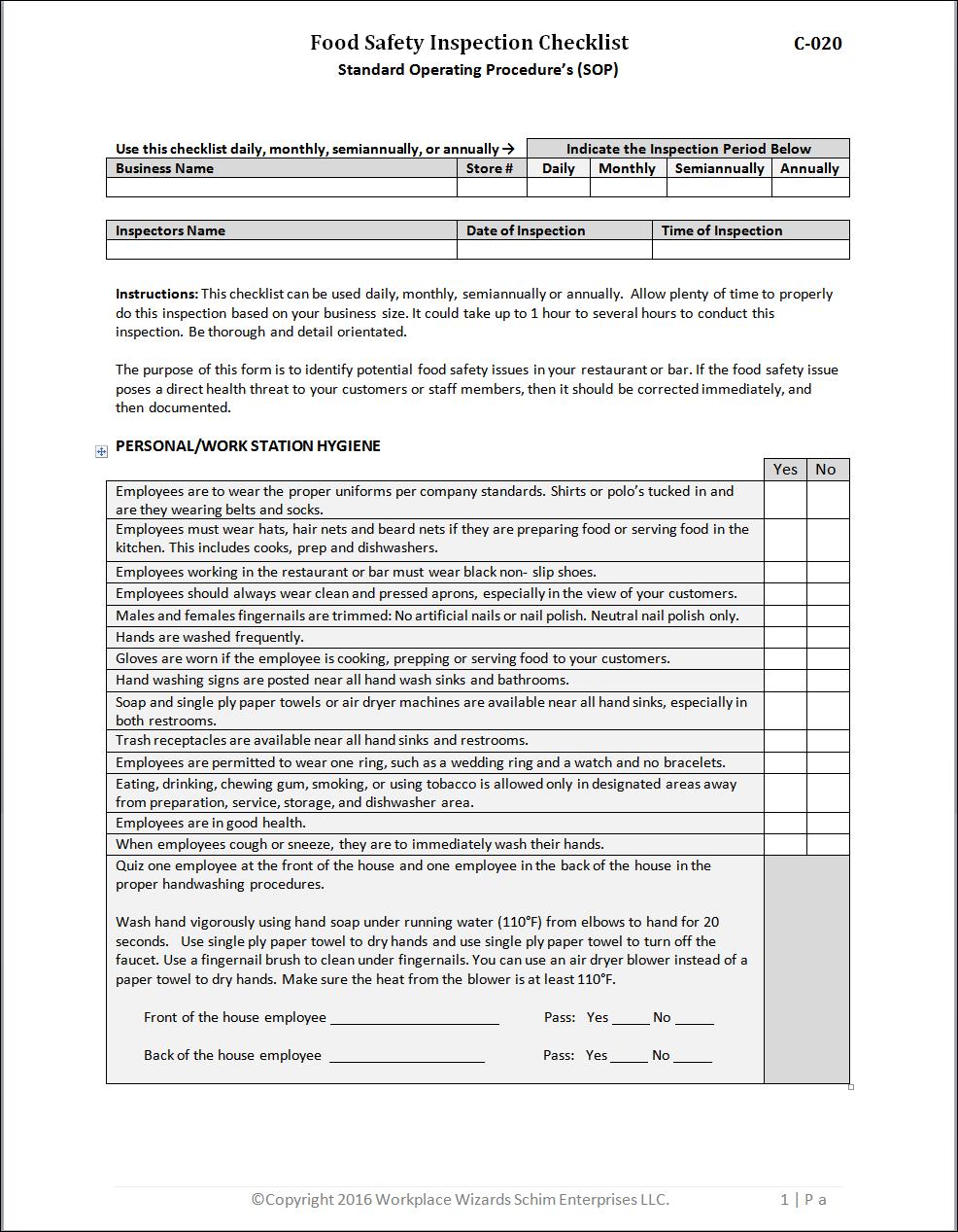 Food Safety Inspection Checklist Workplacewizards