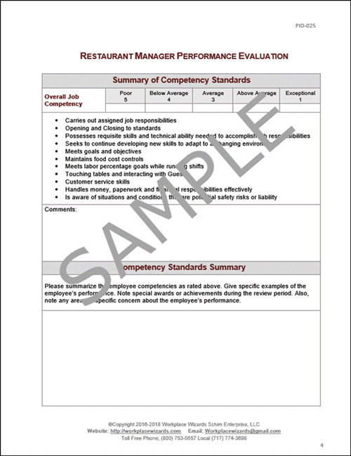 Restaurant Management Performance Evaluation Form on policies and procedures examples, it risk management examples, agile project management examples, performance management graphs, service management examples, vendor management scorecard examples, information management examples, project management dashboard examples, self evaluation examples, performance management best practices, project management best practices examples, performance management quotes, visual management examples, resource management examples, sales analytics examples, core competency examples, talent strategy examples, project portfolio management examples, performance report example, performance management process,