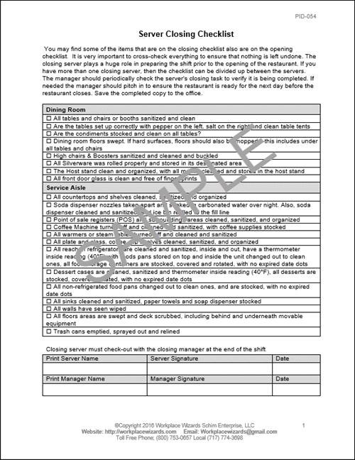 Restaurant Server Closing Checklist Workplace Wizards