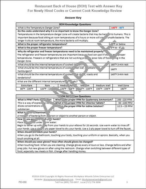 Restaurant Cook Test - Workplace Wizards Restaurant Consulting