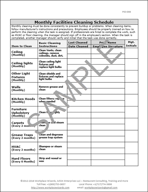 restaurant monthly cleaning checklist workplace wizards