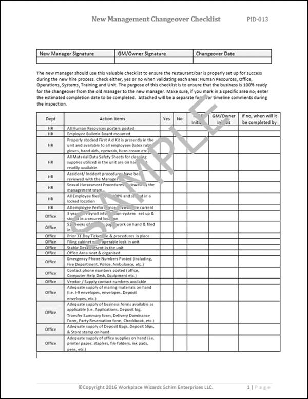 restaurant manager changeover checklist